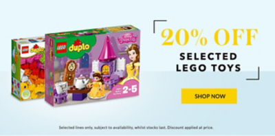 Shop 20% off selected Lego toys