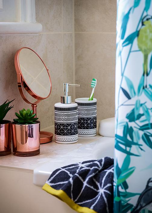 Spruce up your bathroom with copper and blue accessories at George.com
