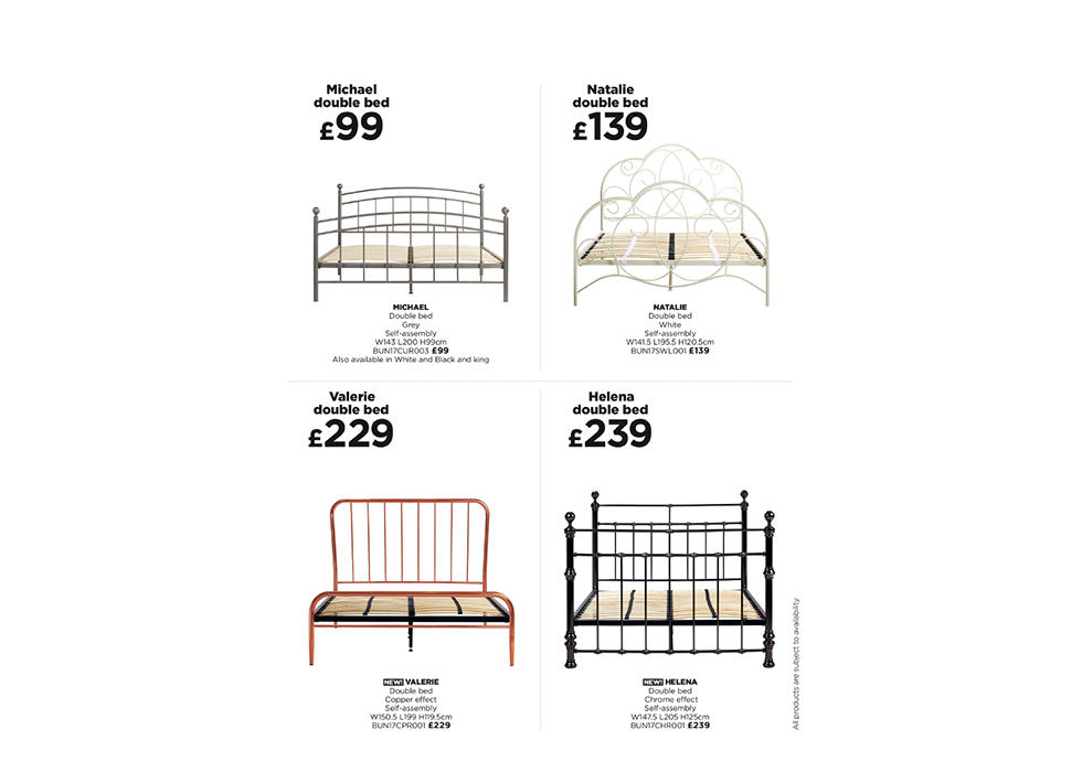 Contemporary or traditional, fabric or chrome-effect, we have a wide range of bed frames you'll love.