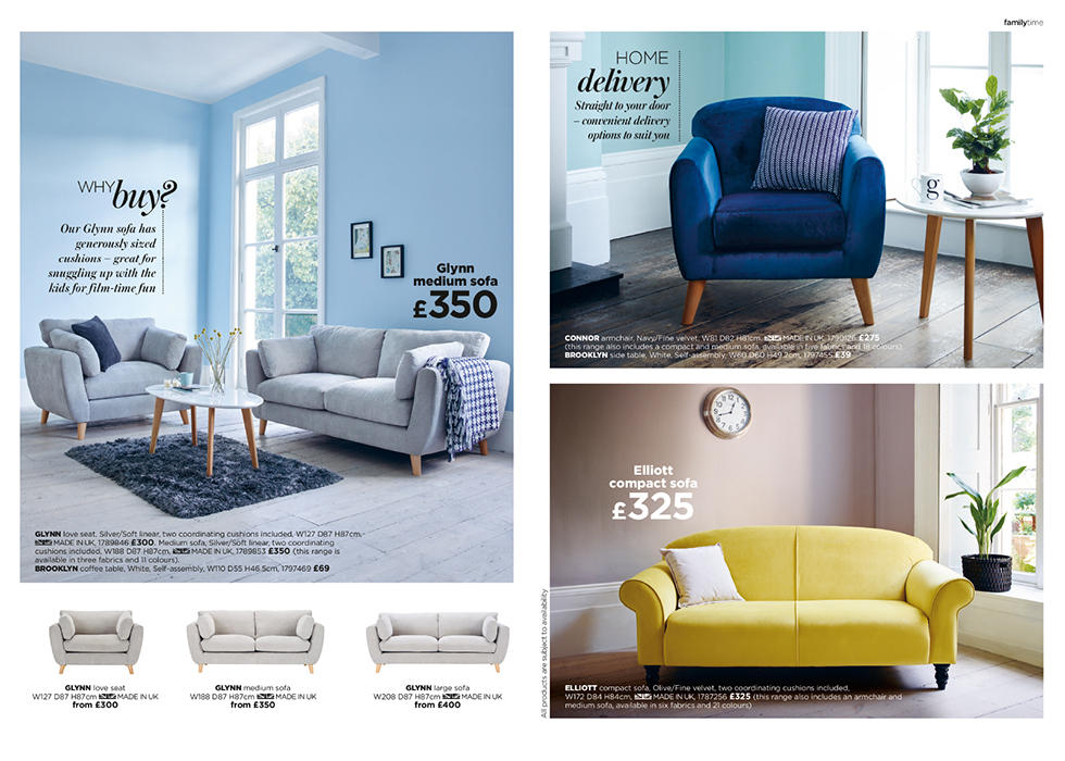 Choose from our wide range of stylish, sink-in sofas. Click and collect or home delivery, we've made things nice and easy.