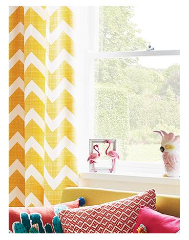 Chevron Eyelet Curtains - Yellow