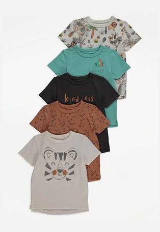 Multicoloured assorted animal print t-shirts 5-pack.