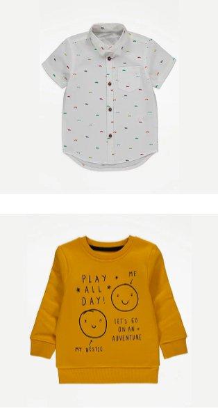 White car print short sleeve shirt, yellow play all day slogan sweatshirt.