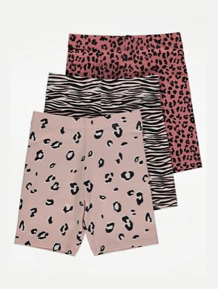 Multicoloured assorted animal print shorts 3-pack.