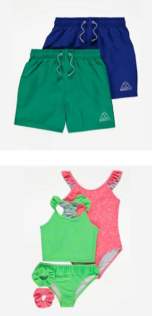 Blue and green swim shorts 2-pack, green bikini with matching scrunchie, pink zebra swimsuit with matching scrunchie.
