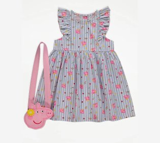 Floral striped dress with frill detailing and pink Peppa Pig cross-body bag.