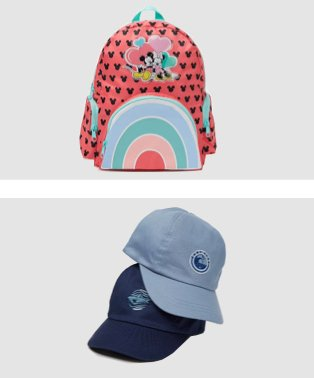Disney Mickey and Minnie Mouse rainbow backpack, light blue and navy blue baseball caps.