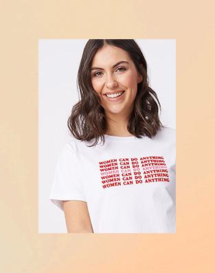 Woman in white slogan t-shirt
