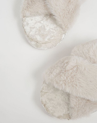 Grey fluffy slippers