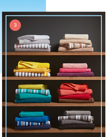 Refresh the bathroom with colourful towels and accessories