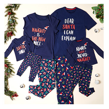 Bring the family together this Christmas with our range of matching PJs
