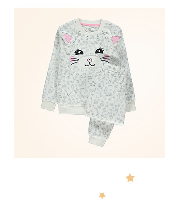 Shop snow leopard fleece pyjama gift set