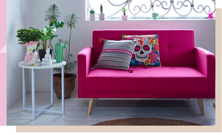 Give your living room a makeover with bold, bright, Bohemian-inspired accents