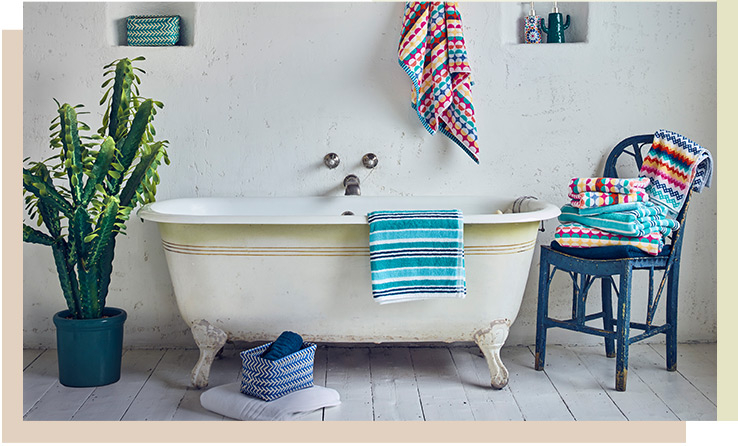 Update your bathroom with bold pattern and vibrant accessories with our Bohemian Brights collection
