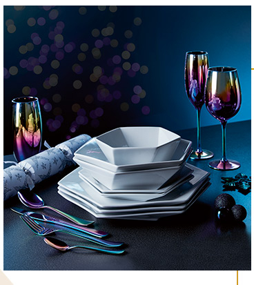 Our Electric Sky range includes fun iridescent glassware and cutlery and contemporary crockery