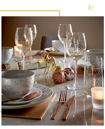 Bring a touch of luxe with our gold-effect dinnerware range