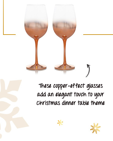 These glasses are designed with a copper fade to add a beautiful, contemporary finish to your table