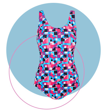 This pink printed swimsuit has a Bodysculpt design with front control liner to give your tummy a smoother appearance