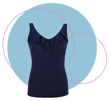 The V-neck on this tankini top boasts romantic ruffles and an inner elasticated waistband for extra comfort