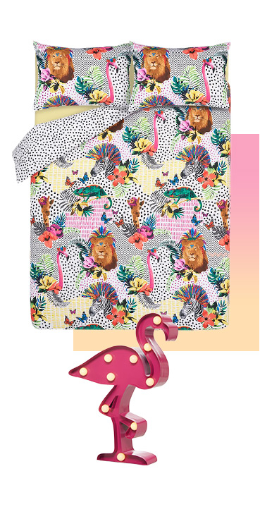 Wake up in the tropics with our fun and colourful flamingo print bedding