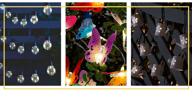 A range of outdoor garden lighting