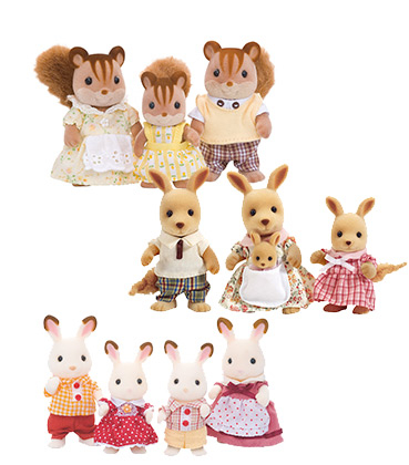 Cute and cuddly Sylvanian Families come as squirrels, kangaroos or bunny rabbits