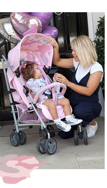 Discover Katie Piper's camouflage pushchair and accessories range