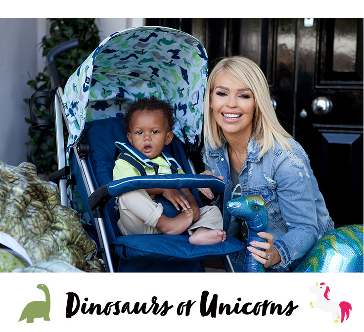 Shop Katie Piper's dinosaurs and unicorn's pushchair and baby accessories range