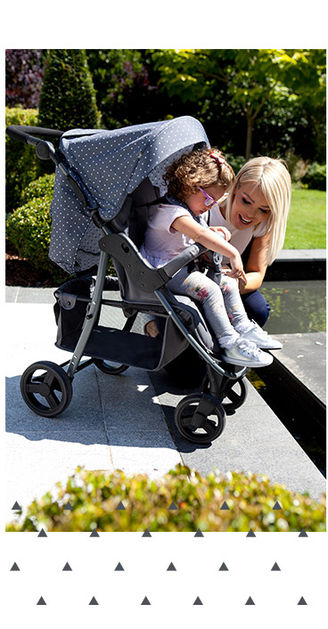 Browse Katie Piper's triangle pushchair and baby accessories range