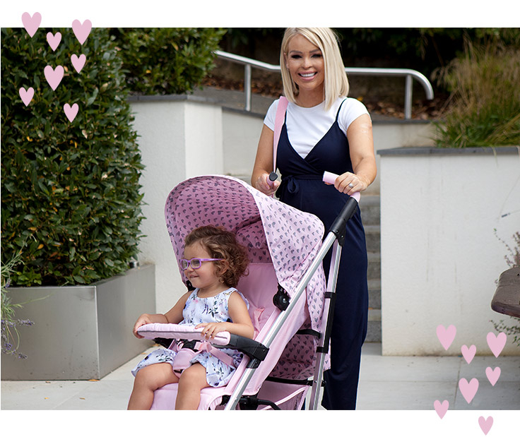 Discover Katie Piper's hearts pushchairs and baby accessories range