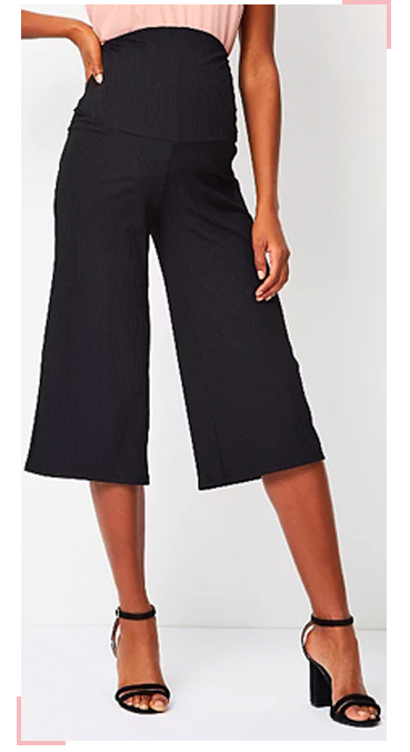 Designed with an elasticated waistband that will cradle your blossoming bump, these gorgeous ribbed culottes will make you look effortless chic