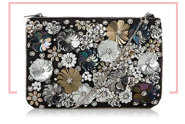 Encrusted in sparkling and iridescent sequins, this clutch bag has a spacious interior, detachable chain and an inner-slip pocket