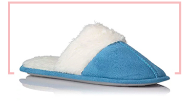 Keep feet warm and cosy with these soft fleece lined mule slippers