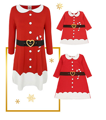 Our traditional Mrs and Miss Santa Claus dresses have a heart-shaped buckle and candy cane