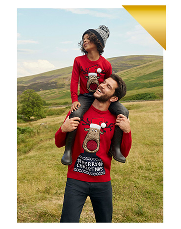 Our matching Christmas jumpers come in sizes for adults and kids