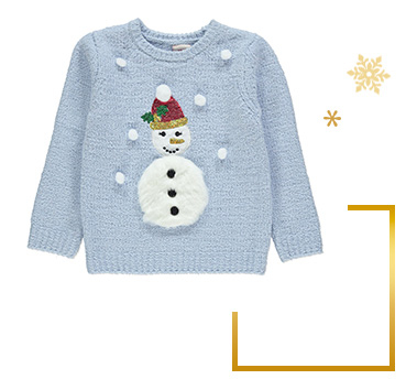 This jumper is designed with a fluffy faux-fur snowman, glittery sequin detailing and matching fluffy pom-poms