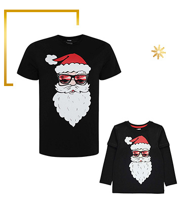 For a modern take on Santa, try out mini me outfits with him wearing cool shades