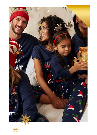 Relax at home with family in cosy matching PJs
