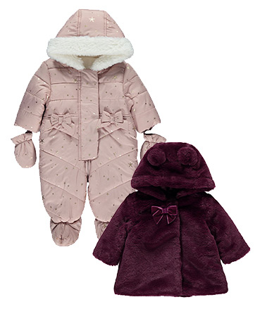 Why not try our fleece-lined pramsuits? They come in a wide range of colours and styles