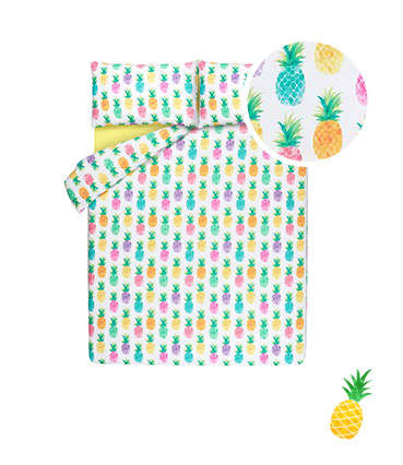 Introduce a fun pop of colour into the bedroom with our range of pineapple accessories