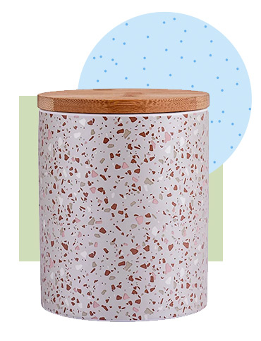 Made from stoneware with a terrazzo finish, this stylish taupe canister is perfect for keeping biscuits and tea bags fresh