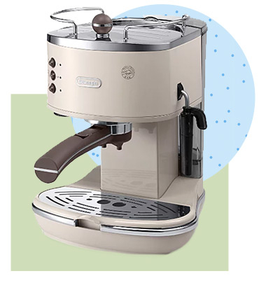 This DeLonghi Vintage Pump Espresso Coffee Machine has a high performance 15 bar pump pressure and a traditional milk frother