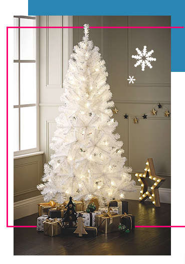 Create your own winter wonderland with our pre-lit white Christmas tree