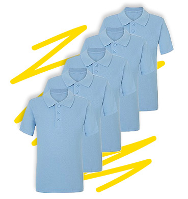 Made with 100% cotton, this versatile pack of 5 blue school polo shirts will keep them comfy all week