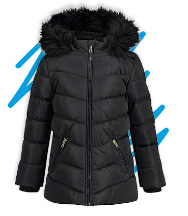 This hooded coat is filled with padding to help keep your youngster warm and protected from the elements