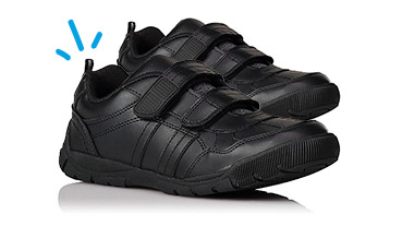 These 2-strap shoes come in a black finish with cushioned insole for comfort