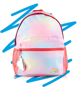 Cute, roomy and colourful, this rainbow rucksack has everything they could ever want in a bag