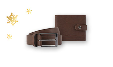 Treat someone to this leather wallet and belt gift set