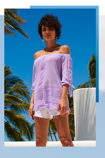 Lighten up this summer with new dresses, tops and swimwear from our Summer Blues collection