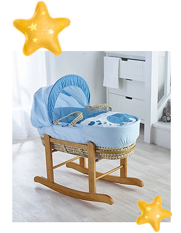 This Kinder Valley Elliot Elephant Moses Basket uses luxury polycotton with a soft padding surround to create a cosy sleeping space for your little one
